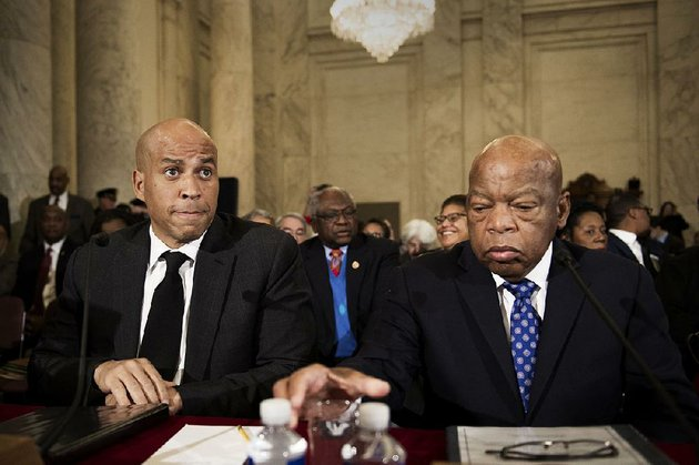 democratic-sen-cory-booker-left-of-new-jersey-and-rep-john-lewis-of-georgia-testify-wednesday-at-the-confirmation-hearing-for-attorney-general-nominee-jeff-sessions-both-oppose-sessions
