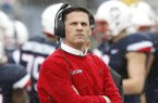 Connecticut head coach Bob Diaco stands on the sideline during the first quarter of an NCAA football game against Central Florida Saturday, Oct. 22, 2016, in East Hartford, Conn. (AP Photo/Stew Milne)