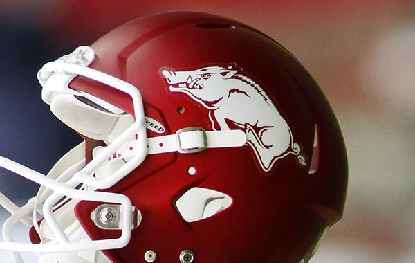 An Arkansas helmet is shown before an NCAA college football game against Auburn, Saturday, Oct. 24, 2015, in Fayetteville, Ark. (AP Photo/Samantha Baker)