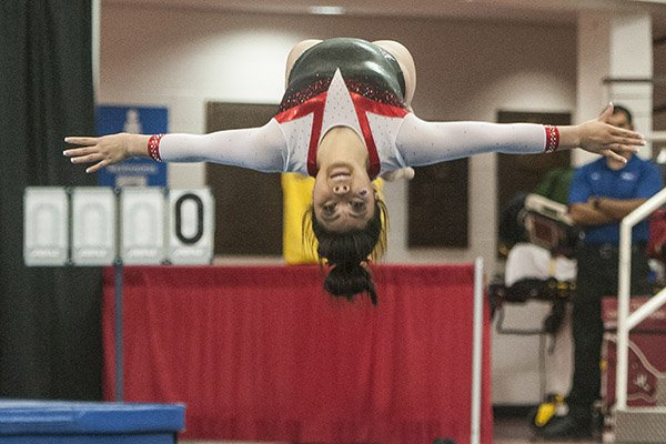 Jessica Yamzon of Arkansas performs a tumbling run on floor against Missouri Friday, Jan. 13, 2017 at Barnhill Arena in Fayetteville. Yamzon was the overall winner from the Razorbacks, but the team lost.