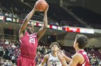 Arkansas guard Manuale Watkins (21) brings down a rebound during an NCAA college basketball game against Texas A&M, Tuesday, Jan. 17, 2017 at Reed Arena in College Station, Texas. (Timothy Hurst/College Station Eagle via AP)