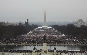People crowd into the National Mall for the Women's March on Washington, one of several protests around the nation and the world Saturday, the day after President Donald Trump's inauguration.