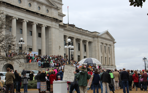 Pro-life advocates gather at the Capitol building in Little Rock during the 39th annual March for Life on Jan. 22, 2017.