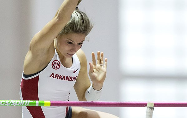 Arkansas sophomore Tori Weeks clears the bar on Friday, Jan. 13, 2017, during the Arkansas Invitational meet at Randal Tyson Track Center in Fayetteville.