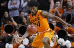 Oklahoma State guard Davon Dillard (24) watches a loose ball during an NCAA college basketball game between TCU and Oklahoma State in Stillwater, Okla., Tuesday, Jan. 24, 2017. Oklahoma State won 89-76. (AP Photo/Sue Ogrocki)