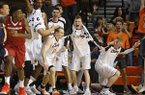 Oklahoma State's Phil Forte III (13) celebrates after breaking Oklahoma State's record for most career 3-pointers during an NCAA college basketball game between Oklahoma State and Arkansas at Gallagher-Iba Arena in Stillwater, Okla., Saturday, Jan. 28, 2017. (Bryan Terry/The Oklahoman via AP)