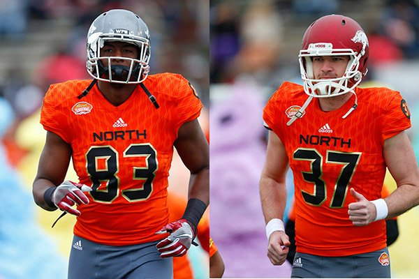 Tight end Jeremy Sprinkle of Arkansas (83) and punter Toby Baker of Arkansas (37) run on the field during player introductions of the Senior Bowl NCAA college football game, Saturday, Jan. 28, 2017, at Ladd-Peebles Stadium in Mobile, Ala. (AP Photos/Butch Dill)