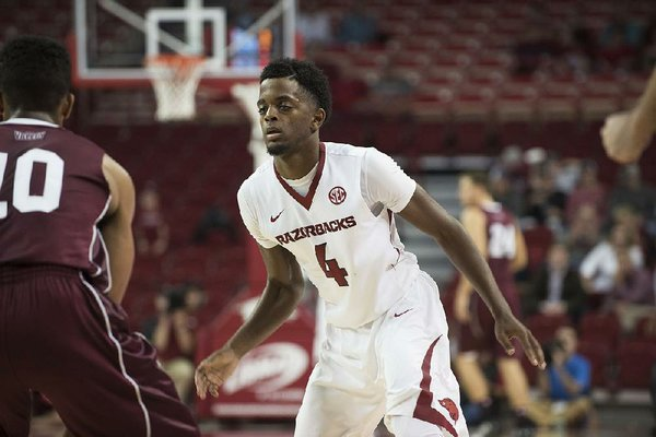 NWA Democrat-Gazette/J.T. WAMPLER Arkansas' Daryl Macon plays defense against Southern Illinois Monday Nov. 14, 2016 at Bud Walton Arena in Fayetteville. The Razorbacks beat the Salukis 90-65.