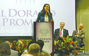 Keynote Speaker: Harvard graduate and author Liz Murray delivers the keynote address during 'A Decade of Promise' event recognizing 10 years of the El Dorado Promise Scholarship.
