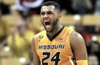 Missouri's Kevin Puryear (24) reacts after a foul was called against Arkansas during the first half of an NCAA college basketball game Saturday Feb. 4, 2017, in Columbia, Mo. (Don Shrubshell/Columbia Daily Tribune via AP)