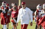 NWA Democrat-Gazette/DAVID GOTTSCHALK  Defensive Back Coach Paul Rhoads or the Arkansas Razorbacks Thursday, August 4, 2016 during practice on campus in Fayetteville.