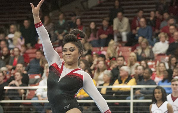Jessica Yamzon of Arkansas competes on the floor against Missouri Friday, Jan. 13, 2017 at Barnhill Arena in Fayetteville.