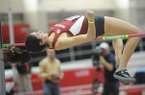 Leigha Brown of Arkansas competes Friday, Jan. 27, 2017, in the high jump portion of the pentathlon during the in the Razorback Invitational in the Randal Tyson Track Center in Fayetteville.