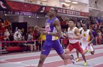 Michael Cherry of LSU beads Obi Igbokwe of Arkansas in their heat in the 400 meter dash invitational Friday, Feb. 10, 2017 during the Tyson Invitational at the Randal Tyson Track Complex in Fayetteville. Cherry won the event with a time of 45.84 seconds and Igbokwe placed second at 46.16 seconds.