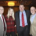 Jeff Long, UA vice chancelor and athletic director (from left), Jen and Razorback football head coac...