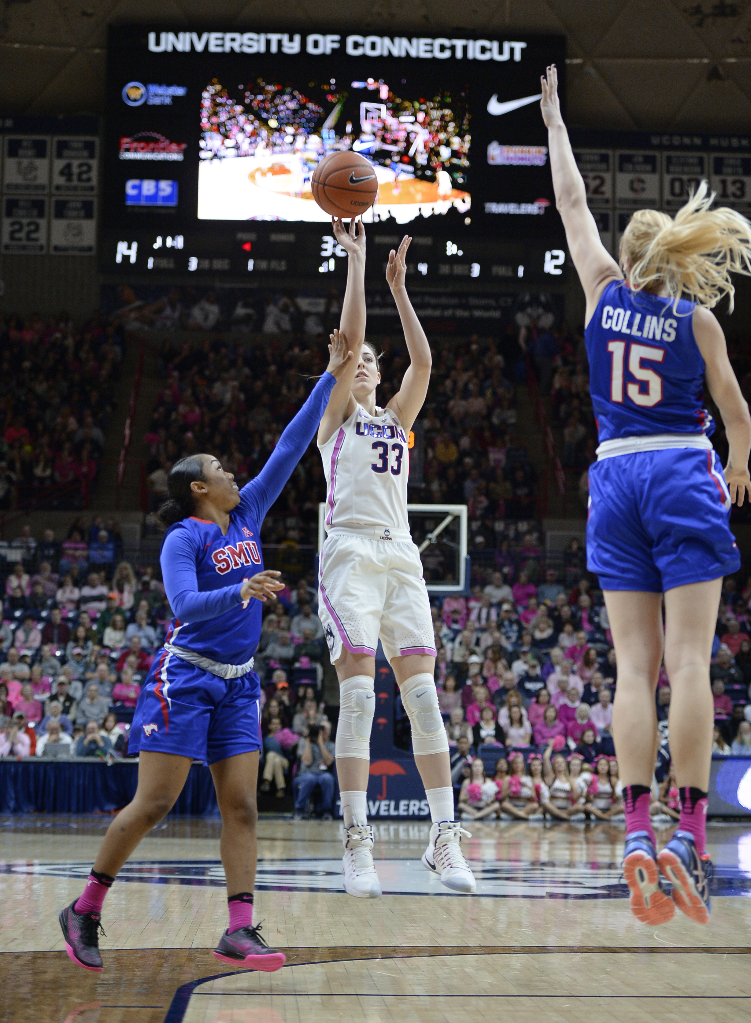 Connecticut's Katie Lou Samuelson shoots between SMU's ...