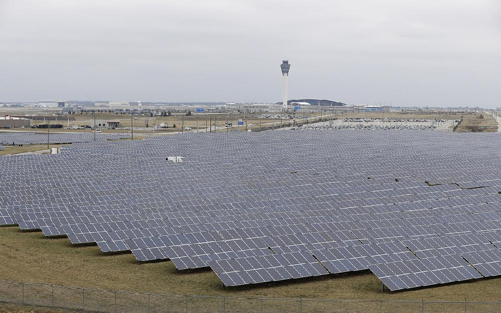 A Solar Farm Sits At The Indianapolis International