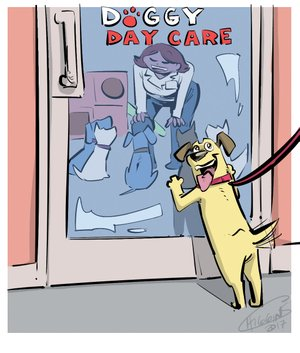 Arkansas Democrat-Gazette doggy daycare illustration.