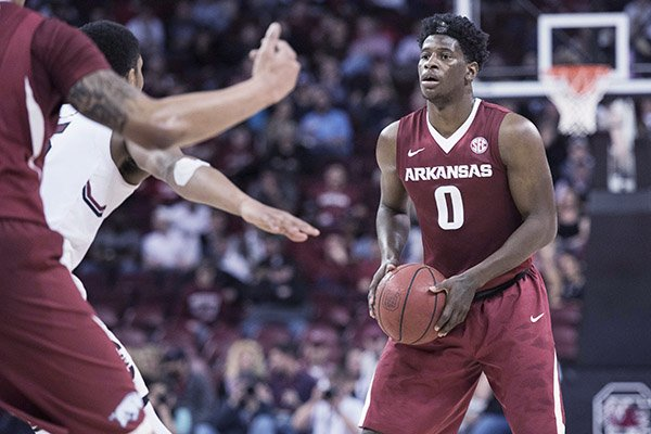 Arkansas guard Jaylen Barford (0) looks for an open teammate during the second half of an NCAA college basketball game against South Carolina, Wednesday, Feb. 15, 2017, in Columbia, S.C. Arkansas defeated South Carolina 83-76. (AP Photo/Sean Rayford)