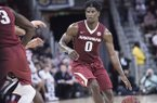 Arkansas guard Jaylen Barford (0) dribbles the ball during the first half of an NCAA college basketball game against South Carolina Wednesday, Feb. 15, 2017, in Columbia, S.C. Arkansas defeated South Carolina 83-76. (AP Photo/Sean Rayford)