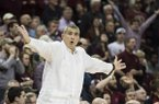 South Carolina head coach Frank Martin reacts to an official's call during the second half of an NCAA college basketball game against Arkansas, Wednesday, Feb. 15, 2017, in Columbia, S.C. Arkansas defeated South Carolina 83-76. (AP Photo/Sean Rayford)