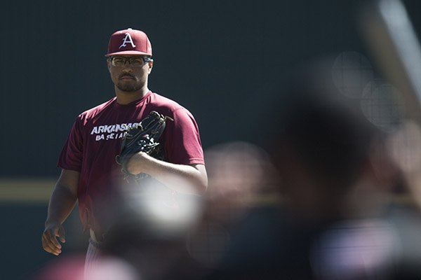 Arkansas pitcher Isaiah Campbell looks toward home plate during a scrimmage Monday, Oct. 17, 2016, in Fayetteville.