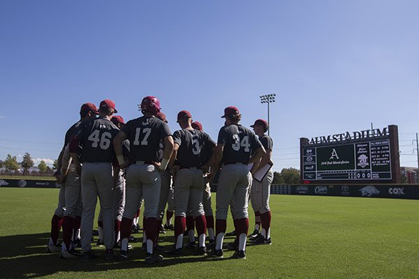 arkansas-players-huddle-before-a-practice-monday-oct-17-2016-in-fayetteville