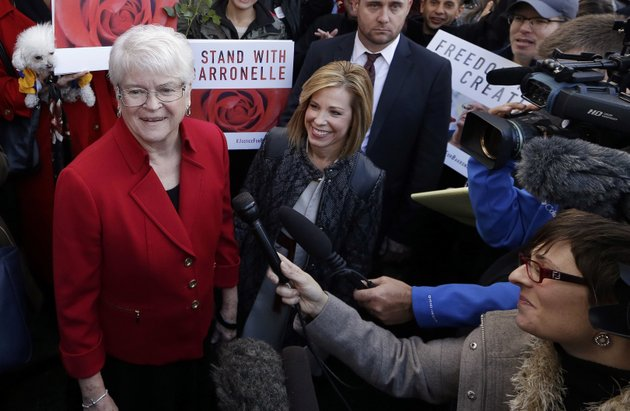 in-this-nov-15-2016-file-photo-barronelle-stutzman-left-a-richland-wash-florist-who-was-fined-for-denying-service-to-a-gay-couple-in-2013-smiles-as-she-is-surrounded-by-supporters-after-a-hearing-before-washingtons-supreme-court-in-bellevue-wash