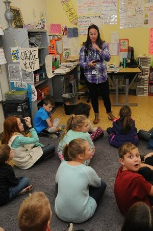 Megan Noriega teaches a history lesson Tuesday Jan. 17 2017 to her fourth grade students at Janie Darr Elementary in Rogers. The school is the newest in the Rogers school district and is in southwest Rogers, the fastest growing area of the district.