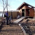 The soft trail around Lake Fayetteville loops near the Mulhollan waterfowl viewing blind. The lake i...