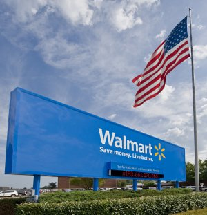 A sign is seen outside Wal-Mart headquarters in Bentonville in this 2012 file photo.