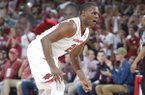 Arkansas senior Manny Watkins reacts after making a 3-point shot against Texas A&M on Wednesday, Feb. 22, 2017, in Fayetteville.