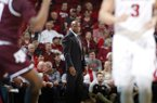 Arkansas coach Mike Anderson watches during a game against Texas A&M on Wednesday, Feb. 22, 2017, in Fayetteville.