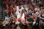 Arkansas guard Jaylen Barford breaks away for a layup during the second half of a game against Texas A&M on Wednesday, Feb. 22, 2017, in Fayetteville.