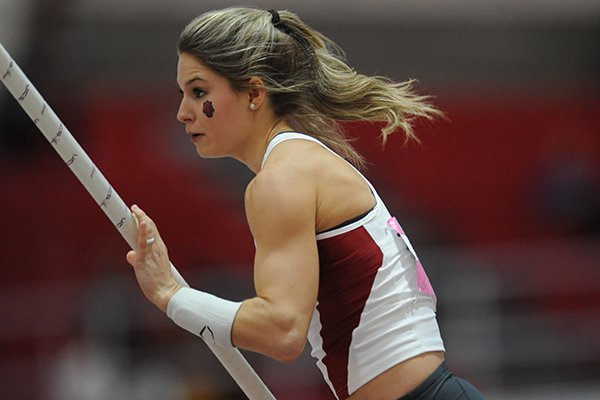 Arkansas sophomore Tori Weeks competes in the pole vault Saturday, Feb. 11, 2017, during the Tyson Invitational in the Randal Tyson Track Center in Fayetteville.