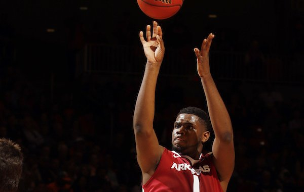 Arkansas forward Trey Thompson (1) shoots against Auburn during the first half of an NCAA college basketball game Saturday, Feb. 25, 2017, in Auburn, Ala. (AP Photo/Todd J. Van Emst)