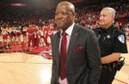 Arkansas coach Mike Anderson smiles after the Razorbacks' win over Georgia Saturday, March 4, 2017, in Bud Walton Arena in Fayetteville.