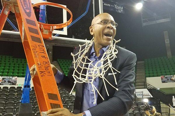 Clark Atlanta coach Darrell Walker celebrates after winning the SIAC Basketball Tournament on Saturday, March 4, 2017, in Birmingham, Ala.