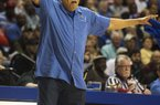 ARKANSAS DEMOCRAT GAZETTE/MELISSA SUE GERRITS 03/15/2014 -Parkview coach Al Flanigan reacts on the sideline during the 3rd period in their 6A Championship Game against Jonesboro March 15, 2014 in Hot Springs.