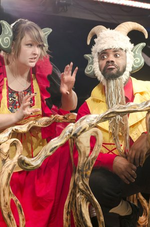 "Anna Hope and Joe Penn appear in Trike Theatre's production of ""Three Billy Goats Gruff."""