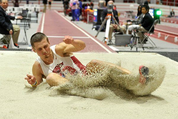 Arkansas' Andreas Trajkovski finished third in the long jump at the 2017 NCAA Indoor Track and Field Championships in College Station, Texas.