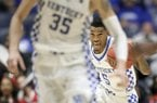 Kentucky guard Malik Monk (5) brings the ball down the court during the second half of an NCAA college basketball game between Kentucky and Georgia at the Southeastern Conference tournament Friday, March 10, 2017, in Nashville, Tenn. (AP Photo/Wade Payne)