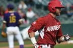 Arkansas' Luke Bonfield circles the bases after hitting a solo home run in the first inning of a game against Alcorn State on Wednesday, March 15, 2017, in Fayetteville.