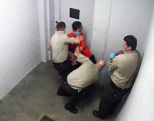 Submitted photo JAIL VIDEO: A video capture from the security camera at the Garland County Detention Center shows a confrontation between an arrested suspect, William Moser, and detention center employees.