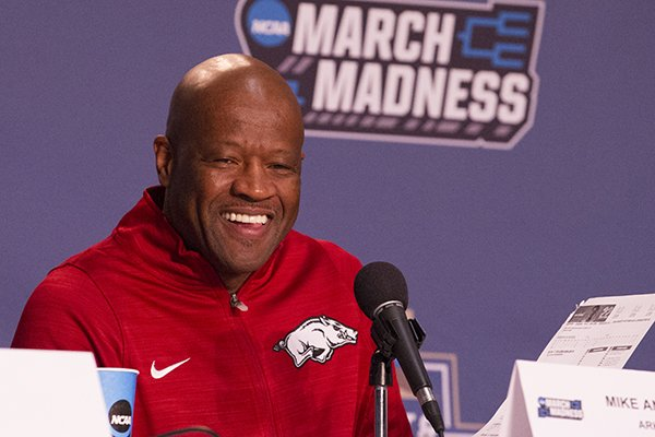 Arkansas coach Mike Anderson speaks to reporters during a news conference Thursday, March 16, 2017, at Bon Secours Wellness Arena in Greenville, S.C.