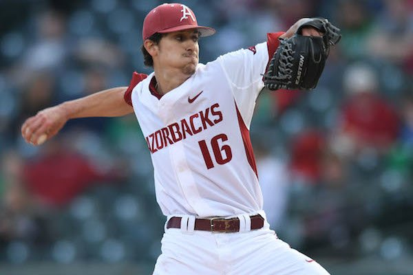 Arkansas starter Blaine Knight delivers to the plate against Mississippi State Friday, March 17, 2017, during the first inning at Baum Stadium in Fayetteville.