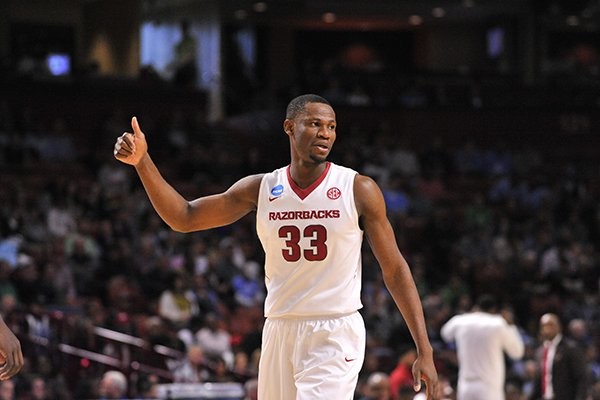 Arkansas center Moses Kingsley reacts during the Razorbacks' 77-71 NCAA Tournament win over Seton Hall on Friday, March 17, 2017, in Greenville, S.C.
