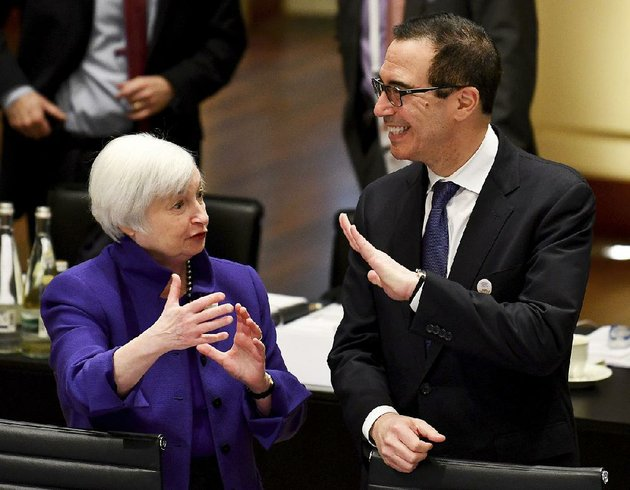 federal-reserve-chairman-janet-yellen-talks-friday-with-us-treasury-secretary-steven-mnuchin-during-the-g20-finance-ministers-meeting-in-baden-baden-germany