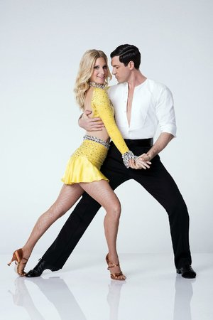 Heather Morris, shown with pro partner Maksim Chmerkovskiy, is one of the early favorites in Season 24 of Dancing With the Stars. The series returns at 7 p.m. Monday on ABC.