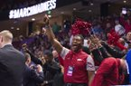 Arkansas fans cheer during the final minutes of the Hog's game against Seton Hall Friday Mar. 17, 2017 in the first round of the NCAA Tournament at the Bon Secours Wellness Arena in Greenville, South Carolina. Arkansas won 77-71 and will advance to the second round, playing Sunday at the same location.